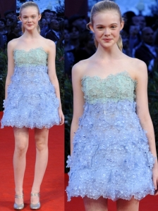 Elle Fanning in Marc Jacobs Blue Floral Dress