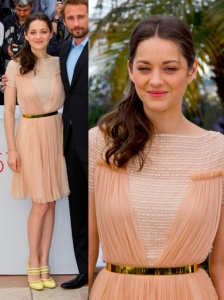 Marion Cotillard in Christian Dior Sheer Nude Dress