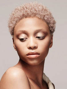 Short Afro Blonde Hairstyle