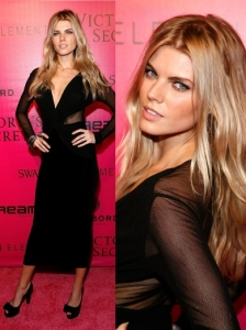 Maryna Linchuk in Black Mesh Sleeve Dress
