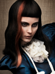 Black Hair with Orange Highlights