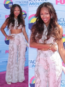 Meagan Good in Snake Print Pants and Crop Top
