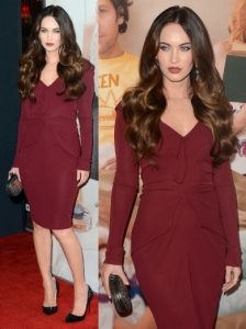 Megan Fox in Roland Mouret Oxblood Knit Dress