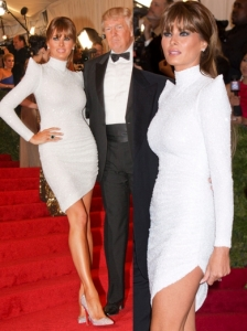 Melania Trump in Marc Bouwer Couture White Dress