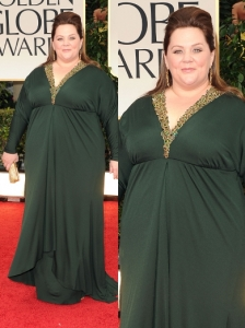 Melissa McCarthy in Badgley Mischka at 2012 Golden Globes
