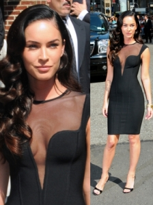Megan Fox in Herve Leroux Mesh Dress