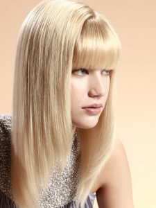 Soft Layered Haircut with Blunt Fringe