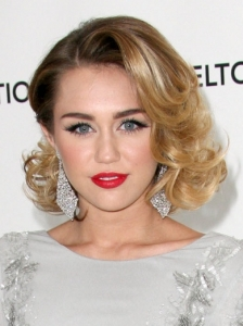 Miley Cyrus Glam Curly Bob Hairstyle