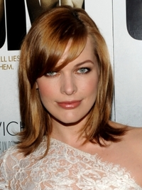 Milla Jovovich Medium Hairstyle with Bangs