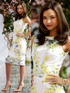 Miranda Kerr in Erdem Marlena Floral Dress