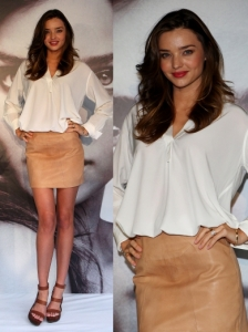 Miranda Kerr in Tan Leather Skirt
