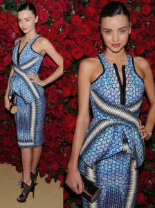Miranda Kerr in Peter Pilotto Blue Print Dress