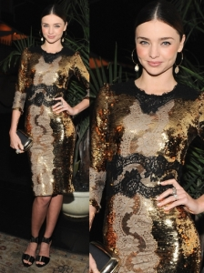 Miranda Kerr in Dolce & Gabbana Gold Sequin Dress