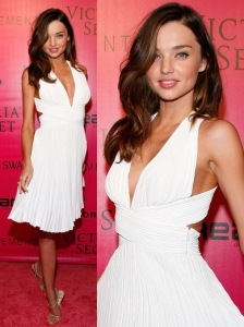 Miranda Kerr in White Halter Dress