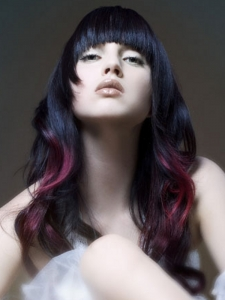 Black Long Hair with Purple Highlights