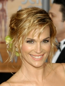 Molly Sims Curly Updo with Flower Accessory