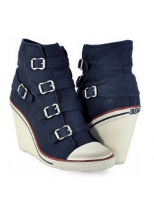 Navy Twist Canvas Wedge Buckle Trainers