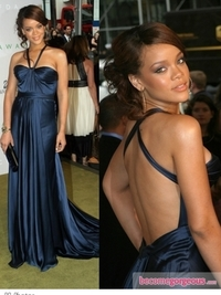 Rihanna in BCBG Blue Silk Gown