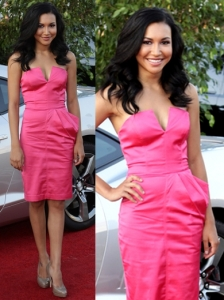 Naya Rivera in Bebe Pink Bustier Dress