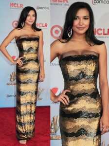Naya Rivera in Douglas Hannant Gold Sequin Dress