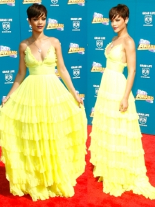 Rihanna in Giambattista Valli Neon Gown