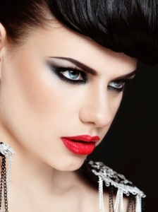 Metallic Eye Makeup with Red Lips