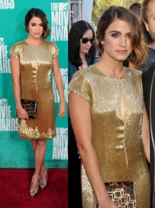 Nikki Reed in Randi Rahm Golden Dress