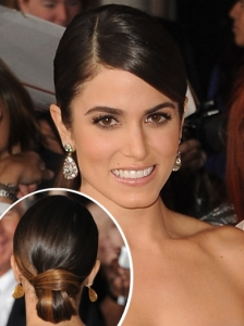 Nikki Reed's Looped Low Bun Hairstyle