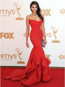 Nina Dobrev in Donna Karan Red Gown