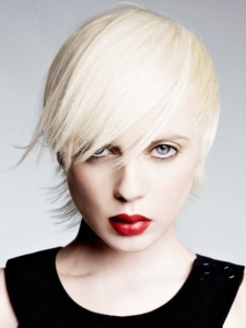 Choppy Layered Platinum Hair Style
