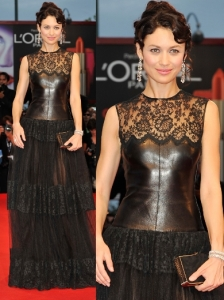 Olga Kurylenko in Valentino Lace and Leather Gown