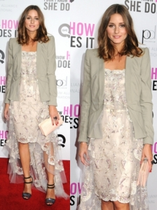 Olivia Palermo in Lace Mullet Dress