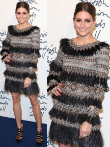 Olivia Palermo in Matthew Williamson Feather Dress