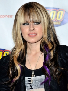 Orianthi Blonde and Purple Hair Highlights