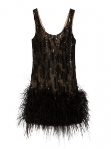 Oscar de La Renta Feather-Trimmed Silk-Mesh Dress