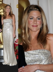 Jennifer Aniston in Valentino Silver Gown