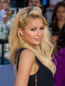 Paris Hilton Pinned Back Bangs Hairstyle