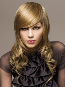 Long Blonde Glossy Hair Style