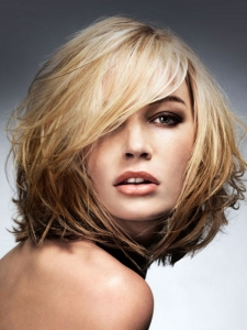 Heavy Layered Medium Hair Style
