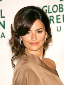Penelope Cruz with Curly Bun Hairstyle