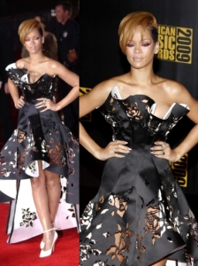 Rihanna in Marchesa Laser Cut Gown
