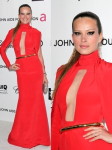Petra Nemcova in Stephane Rolland Red Dress