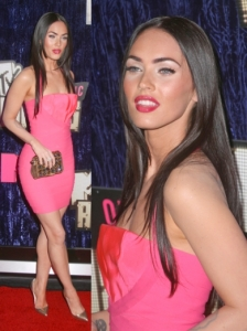 Megan Fox in Hot Pink Herve Leger Dress
