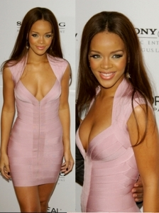 Rihanna in Herve Leger Pink Bandage Dress