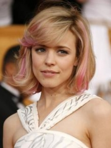 Rachel McAdams Bob with Pink Highlights