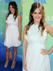 Rachel Bilson in Chloe White Silk Dress