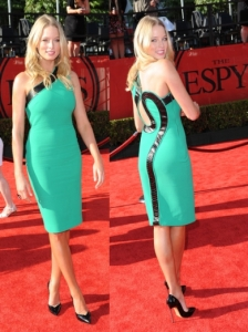 Rachel Nichols in Green One Shoulder Sheath Dress