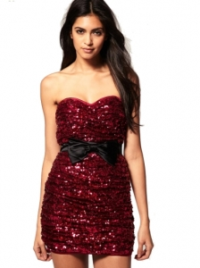 Rare Sequin Bandeau Dress With Bow