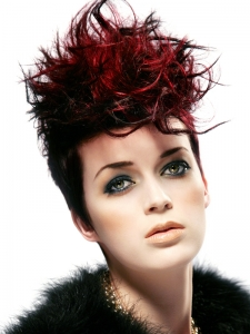 Glam Black Hair and Red Highlights