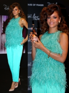 Rihanna in Antonio Berardi Feather Top and Pants